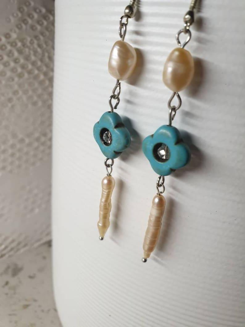 PEARL ROYALE new blue turquoise earrings freshwater pearl stick simplicity elegant gift Watt Millinery party wear evening day wear nightlife