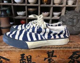 Vintage Sperry top-sider limited edition denim zebra striped lace up sneakers anti-slip sole Conn USA boat shoes