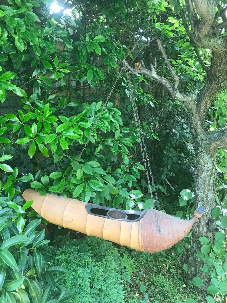 Rare Vintage Japanese bamboo root hanging ikebana vase boat shaped kakehanaire
