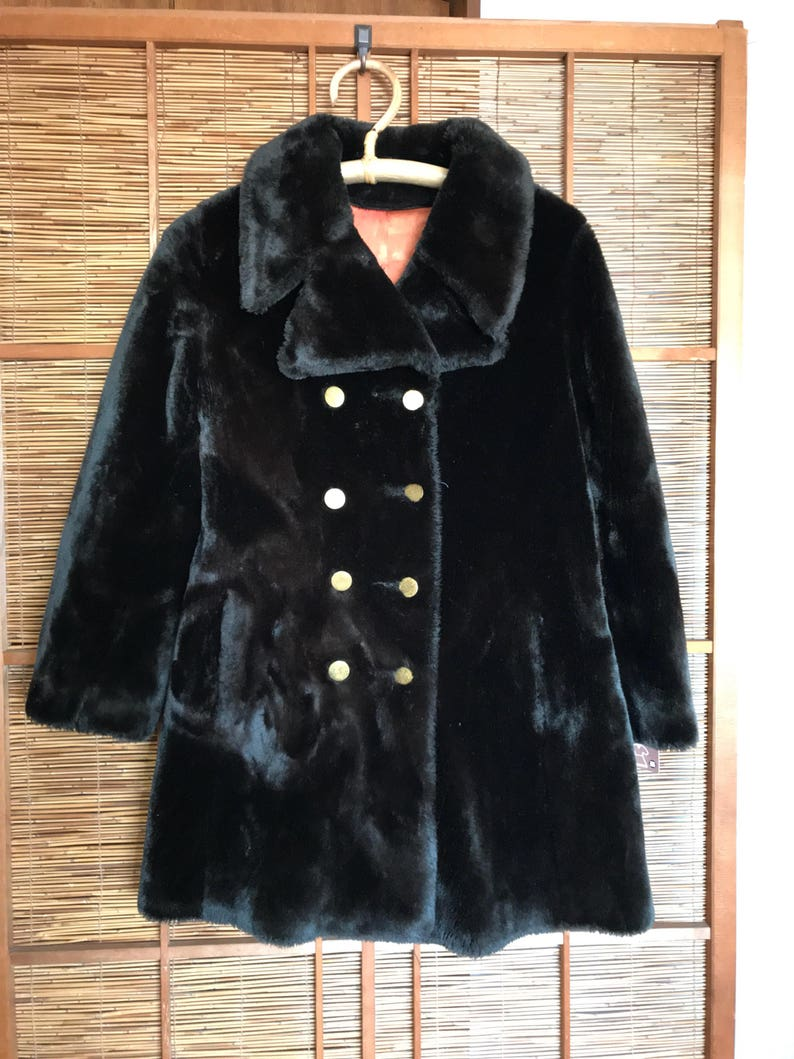 7faa48525 Vintage dark chocolate brown faux fur coat union made in USA | Etsy