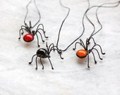 Spider Necklace Halloween Jewelry Funny Spooky Horrible Necklace Red Black Orange Day of the Dead Gift Idea For Her