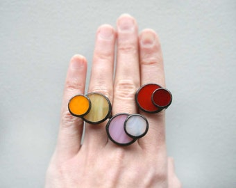 One of a Kind Colorful Ring, Modern, Adjustable, Cocktail ring, Stained Glass Jewelry, Bright Gift For Her