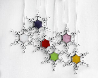 Colorful Stained Glass Snowflakes, Silver Snowflake Decoration, Winter Ornaments, Christmas Tree Ornaments, Winter Wedding Decor