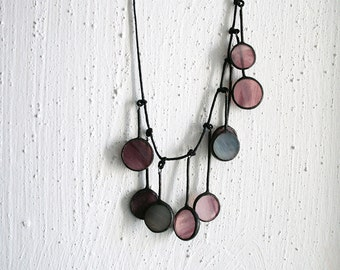 Statement Necklace, Long purple necklace, Soft Purple Colors, Stained Glass Jewelry, Art Necklace