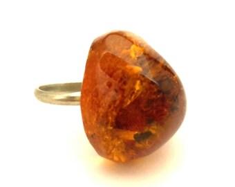 Breloques Magnifique Vintage Baltique Argent Antique Bague Bijoux Taille 10 Amber Couleurs