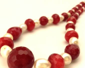 Necklace Vintage Red Ruby Faceted Beads White Pearls Charming Handmade