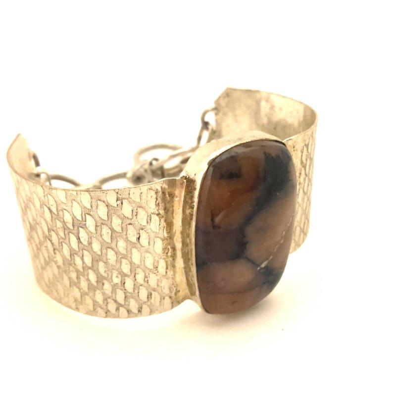 Vintage Bangle Bracelet Jasper Landscape Oval Natural Stone Silver Plated Charming