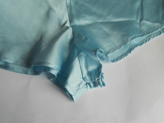 Turquoise silk pajama XS Women sleepwear slip top… - image 8