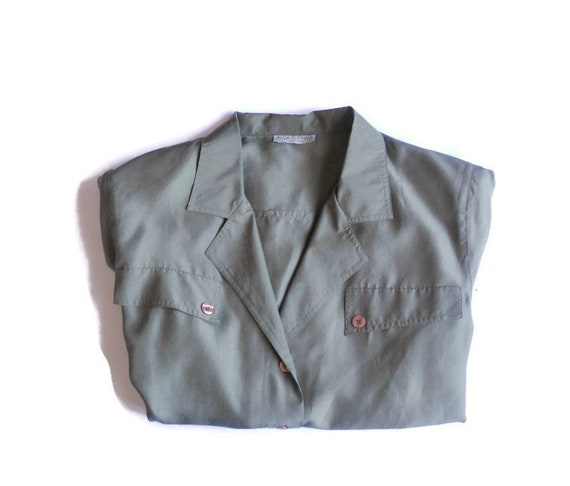 Women's green olive silk dress shirt , vintage org