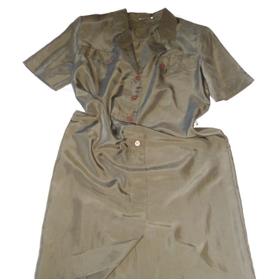 Women's green olive silk dress shirt , vintage or… - image 9