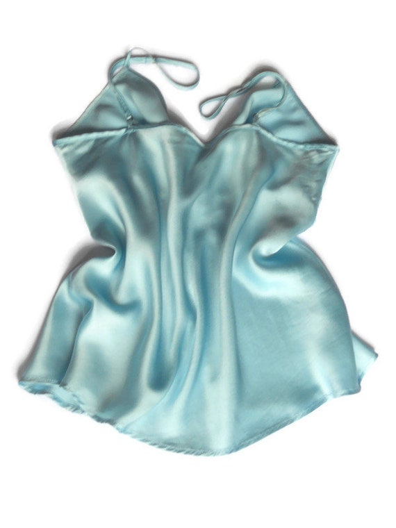 Turquoise silk pajama XS Women sleepwear slip top… - image 7