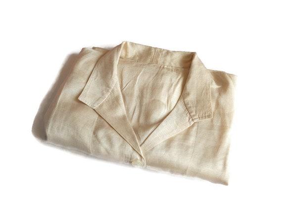 organic silk  pajama jaket XL vintage ivory soft s