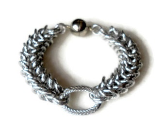 Chain jewelry bracelets Chain maille woman jewelry handmade Bracelet  Jump ring Box baracelet silver color Women accessories Gift for her