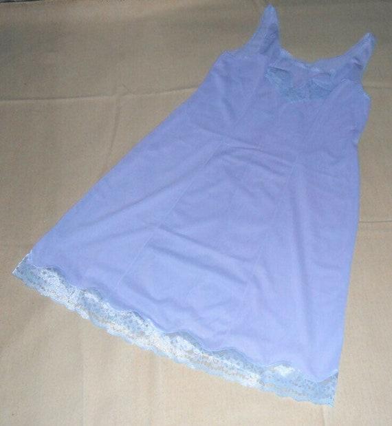 Blue lavender lace petticoat L size Top slip ling… - image 9