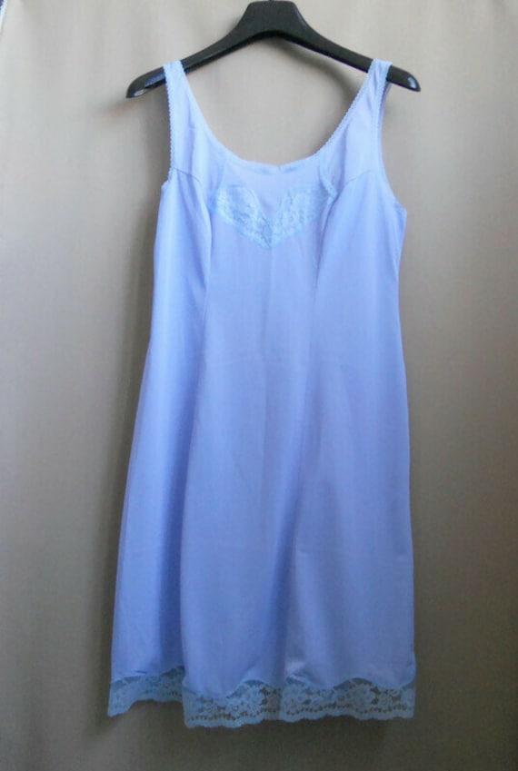 Blue lavender lace petticoat L size Top slip ling… - image 4