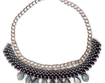 Bead Woven Jewelry Necklaces Grey Nacre Collar necklace Women accessories Guft for her