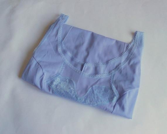 Blue lavender lace petticoat L size Top slip ling… - image 8