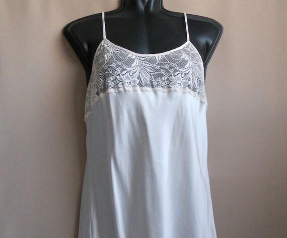 white cream silk lingerie vintage Top Slip dress M