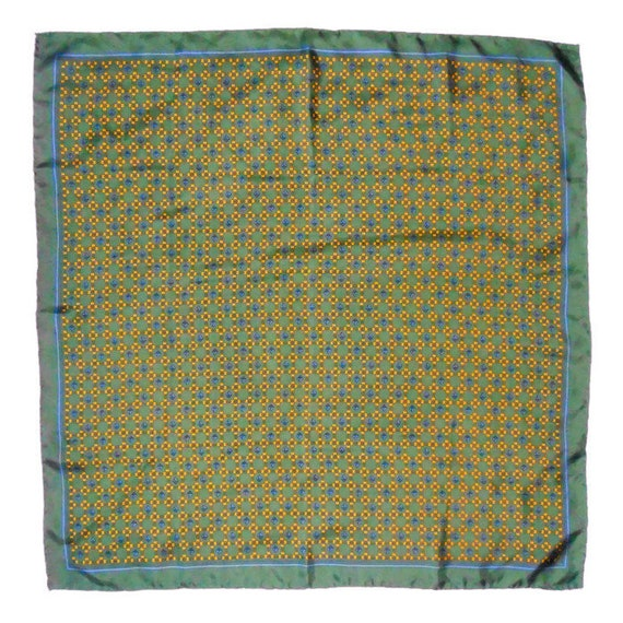 Square silk scarf Vintage Italy Green neck scarf S