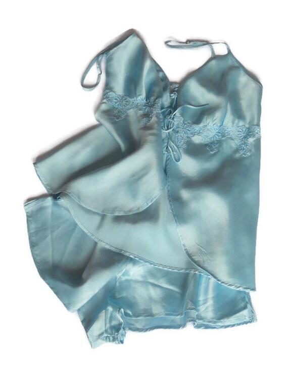 Turquoise silk pajama XS Women sleepwear slip top… - image 9