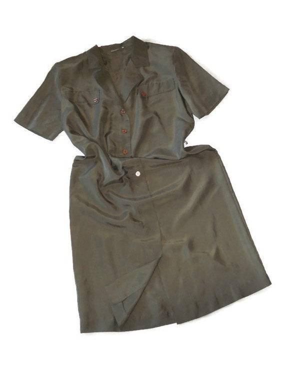 Women's green olive silk dress shirt , vintage or… - image 4