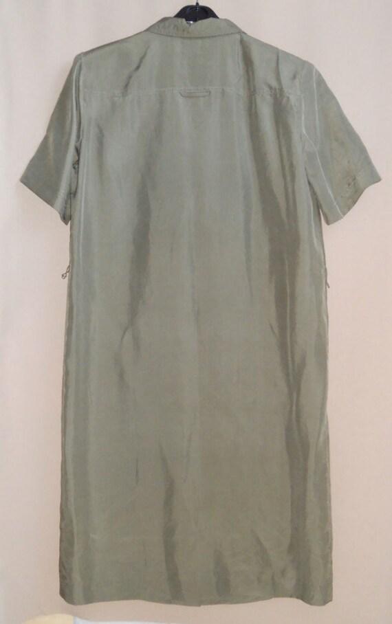 Women's green olive silk dress shirt , vintage or… - image 5