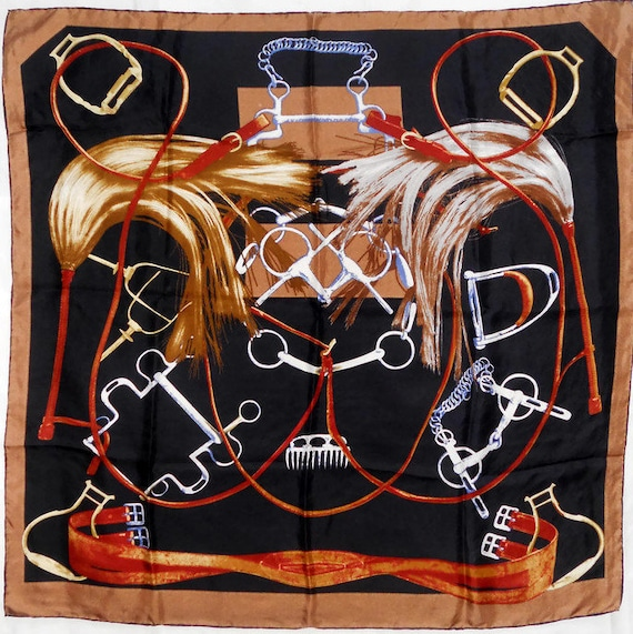 Square silk scarf women Vintage  Equestrian design