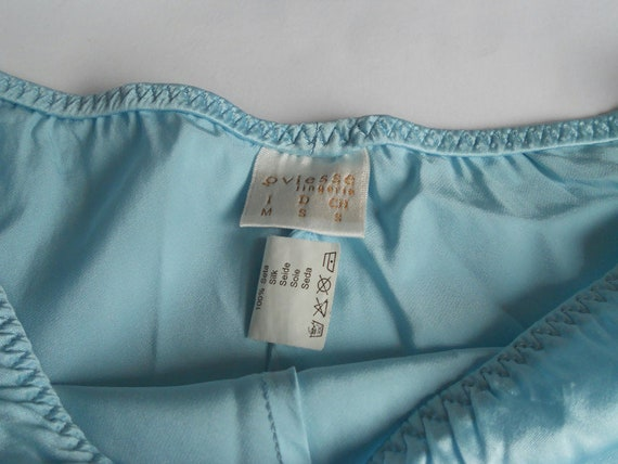 Turquoise silk pajama XS Women sleepwear slip top… - image 10