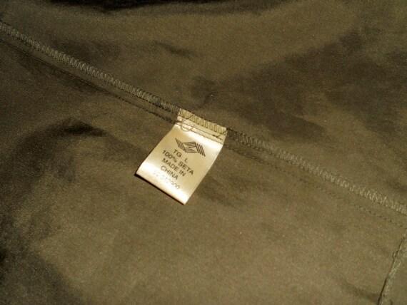 Women's green olive silk dress shirt , vintage or… - image 10