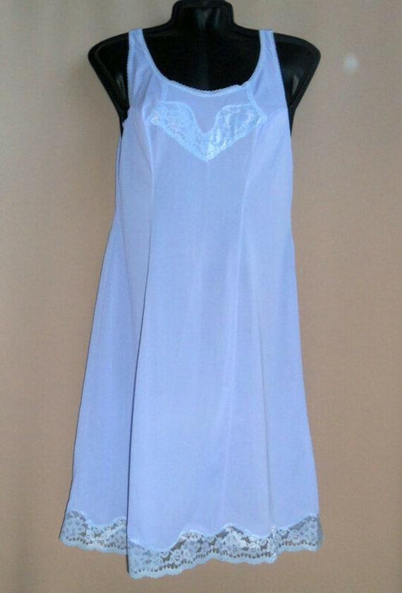 Blue lavender lace petticoat L size Top slip ling… - image 2