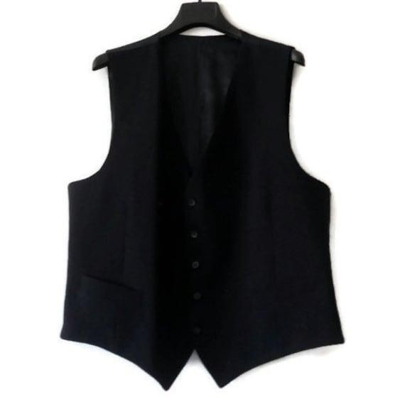 black wool waistcoat for men tailoring wool vest v