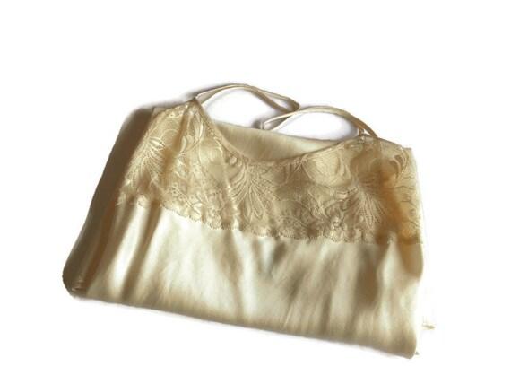 white silk lingerie vintage Slip top dress M size