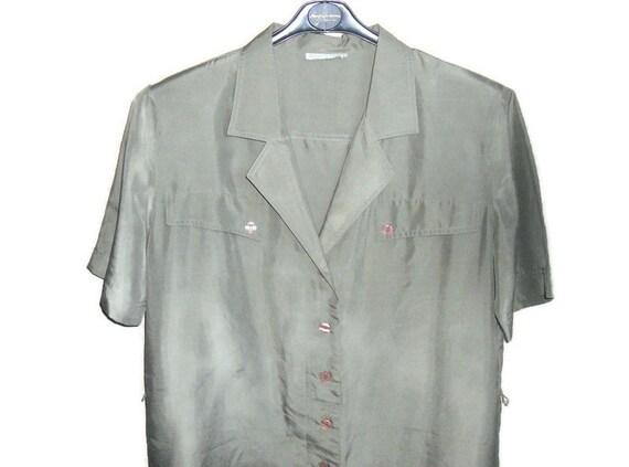 Women's green olive silk dress shirt , vintage or… - image 3