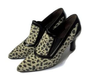 Vintage women pumps Leather shoes Leopard design women suede shoes Italian shoes for women