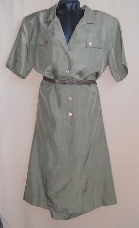 Women's green olive silk dress shirt , vintage or… - image 6