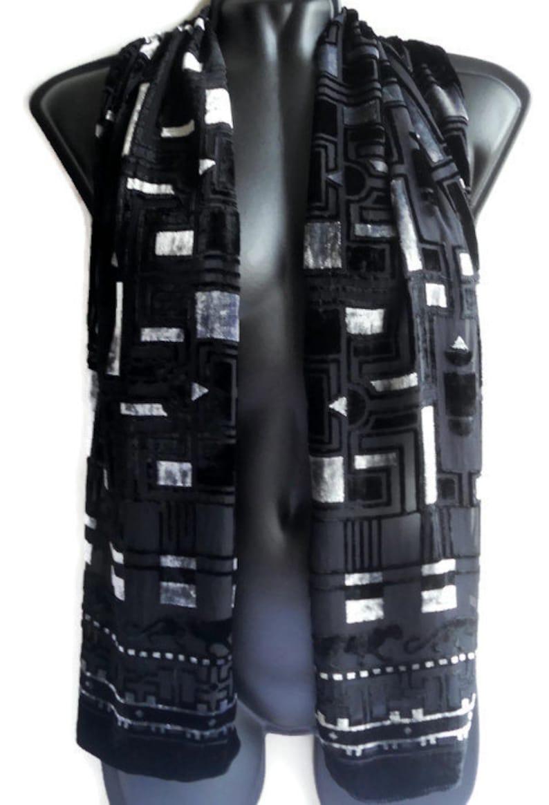 a390095e08987 Black Silk velvet scarf vintage Women's velvet wrap Black panthers Silk  velevet neck scarf Women accessories Gift for her