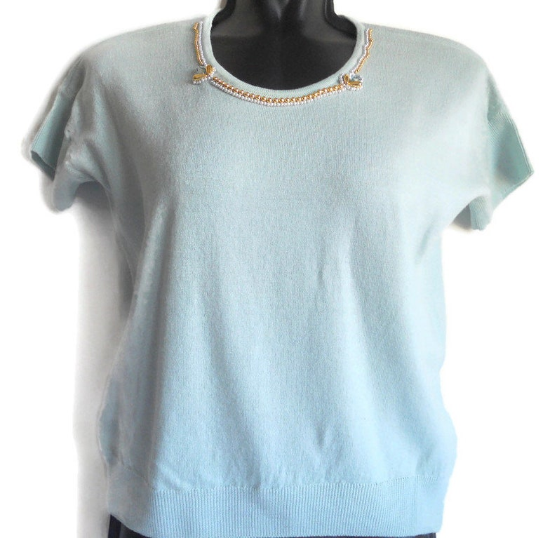 women/'s wool merinos Top jersey vintage Italy clear green turquoise