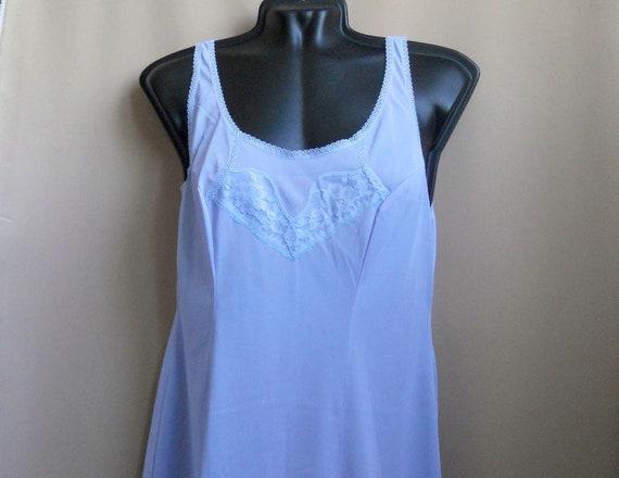 Blue lavender lace petticoat L size Top slip ling… - image 1