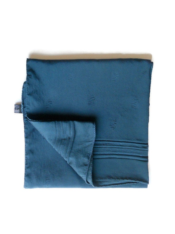 Square Blue silk scarf Vintage Italy blue silk lar
