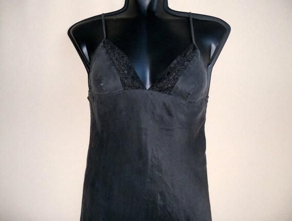 black silk slip dress, Silk lace lingerie, organic