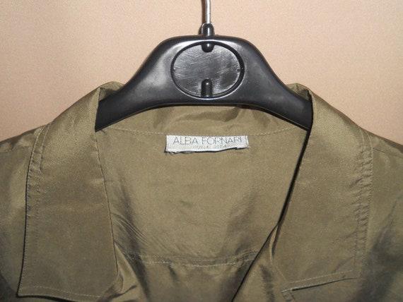 Women's green olive silk dress shirt , vintage or… - image 7