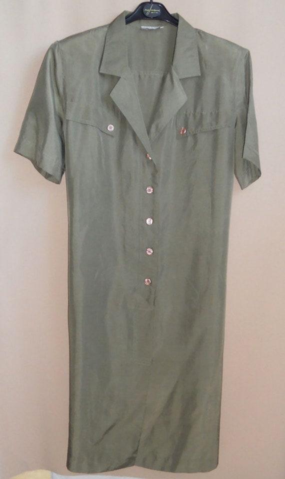 Women's green olive silk dress shirt , vintage or… - image 2