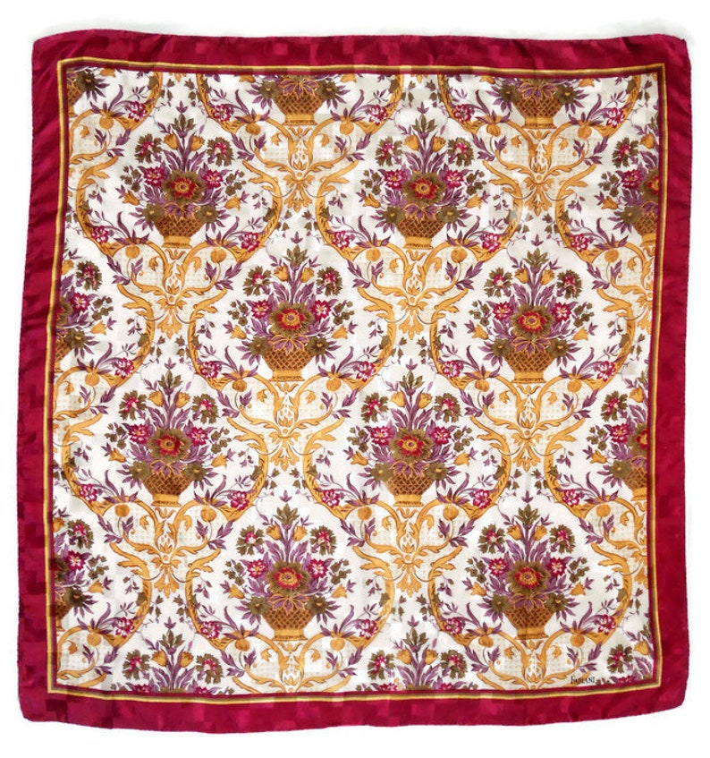 18a7f4051ee Vintage Large silk square Scarf Colorful silk scarf   Etsy