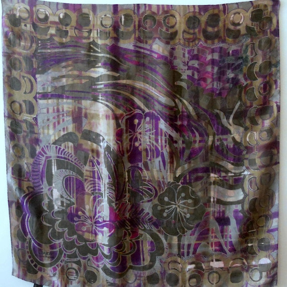 Large silk square Scarf by Laura Biagiotti vintage