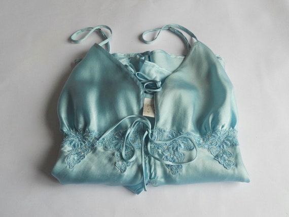 Turquoise silk pajama XS Women sleepwear slip top… - image 5