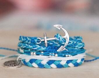 Colorful bracelet set - multistrand studded flat braid tricolor friendship bracelets sand dollar - waxed polyester - Life's a Beach