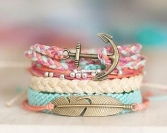 Colorful bracelet set - multistrand studded flat braid tricolor friendship bracelets summer bracelets - waxed polyester - Tea Party