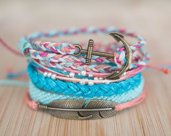 Colorful bracelet set - multistrand studded flat braid tricolor friendship bracelets summer bracelets - waxed polyester - Unicorn