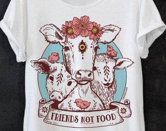 d9292c7b4b Vegan shirt - Friends not food shirt - cute vegan shirt, vegetarian tshirt,  funny vegan t-shirt, veggie shirt, women vegan shirts