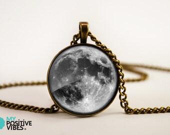 Colgante de luna llena - bronce de azulejo de vidrio